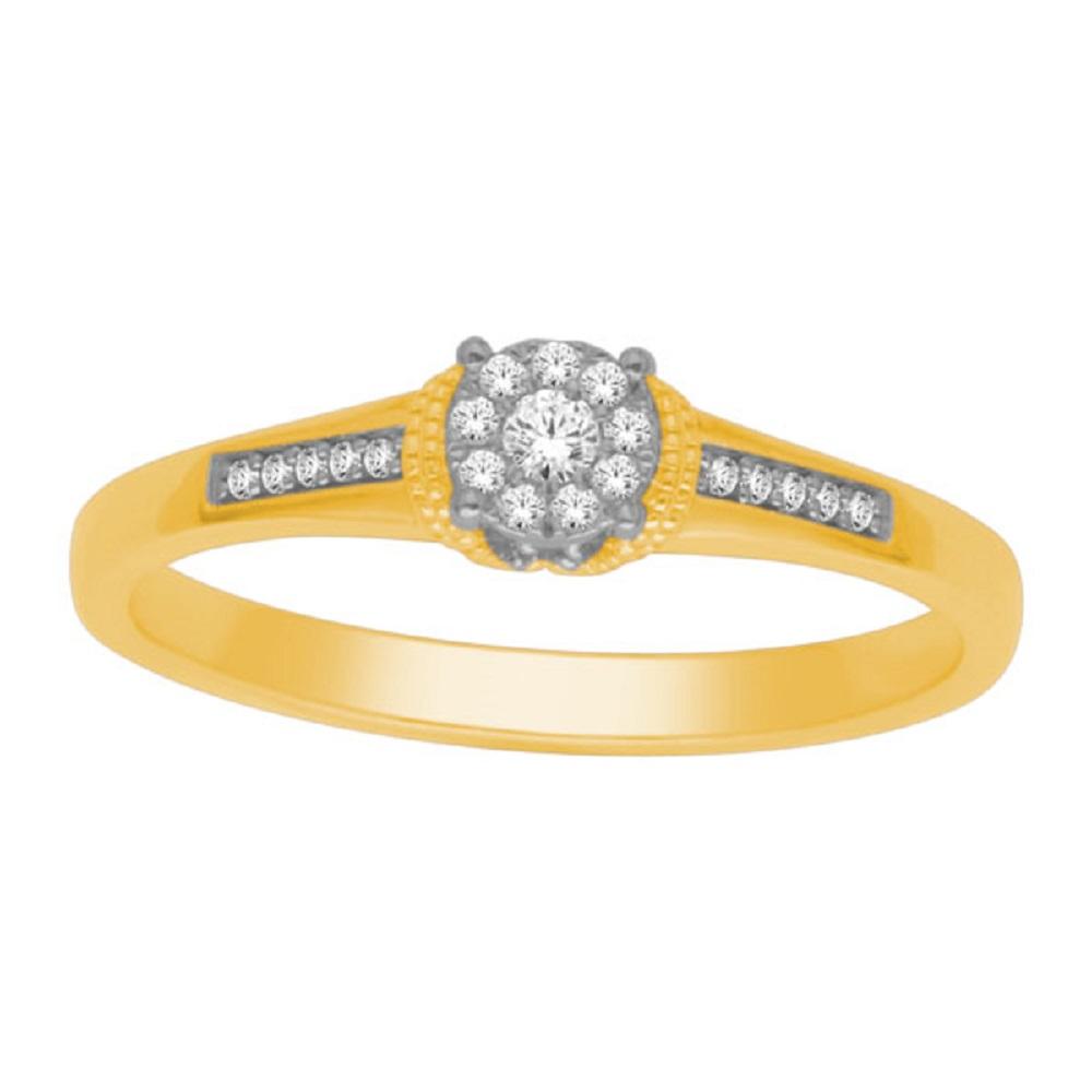 Bague pour femme - Or jaune 10K & Diamants totalisant 0.10 Carat