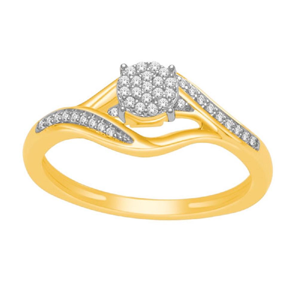 Bague pour femme - Or jaune 10K & Diamants totalisant 0.12 Carat