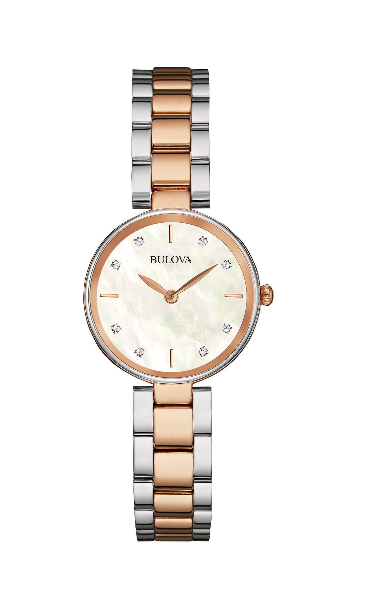 watch with quartz movement for women - Mother-of-pearl dial set with 8 diamonds with mineral crystal