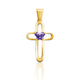 cross pendant for babies set with a purple cubic zirconia (month of February) - 10K yellow gold