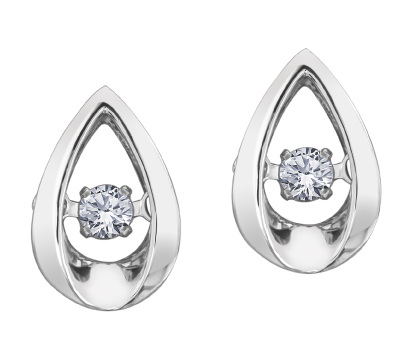 Stud earrings - 10K white Gold & Canadian diamonds 0.10 Carat T.W.