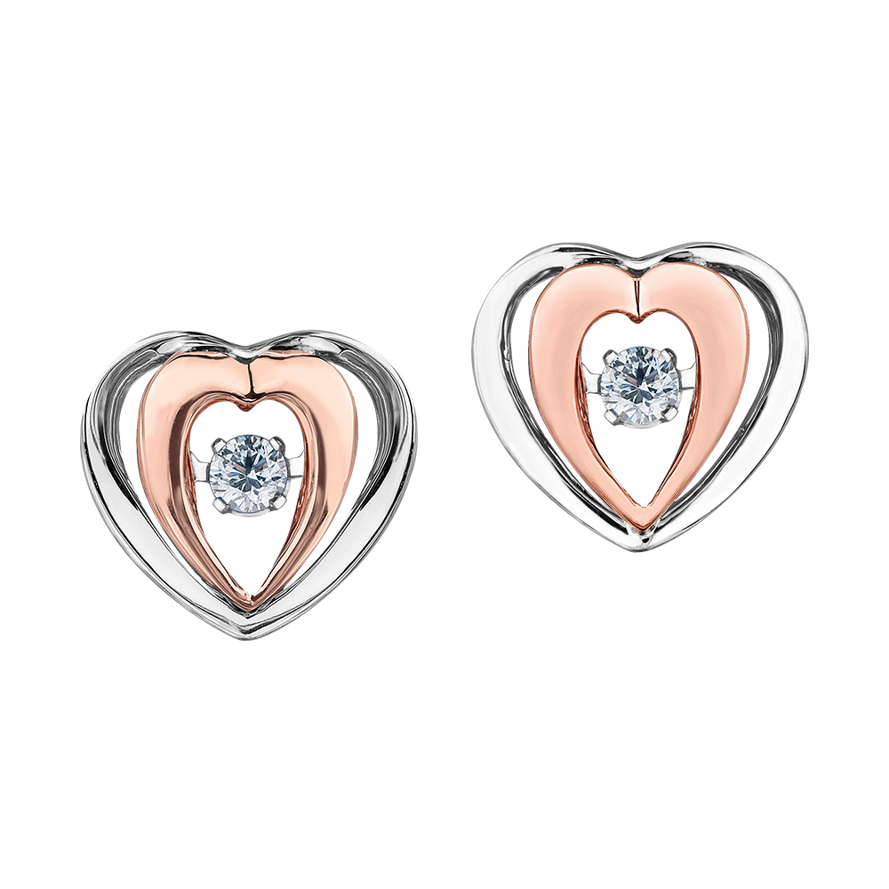 Heart stud earrings - 10K 2-tone Gold (rose and white) & Canadian diamonds 0.10 Carat T.W.
