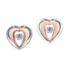 Boucles d'oreilles coeurs à tiges fixes - Or 2-tons 10K & Diamants Canadiens totalisant 0.10 Carat