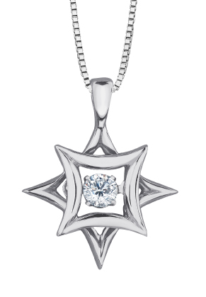Pendentif - Or blanc 10K & Diamants Canadien totalisant 0.10 Carat