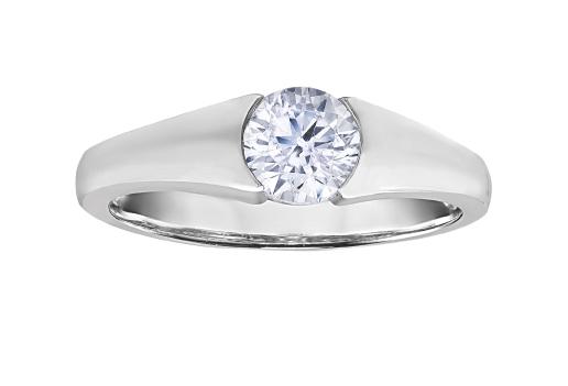 Bague de fiançailles - Or blanc 10K & Diamant Canadiens totalisant 0.25 Carat