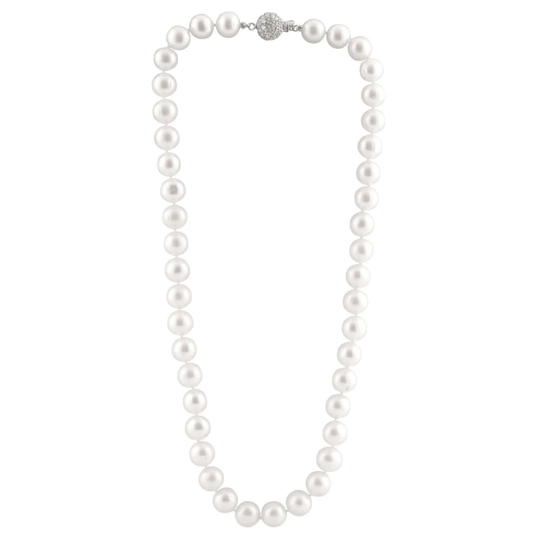 Collier de perles d'eau douces 18''  - Argent sterling & zircons cubiques