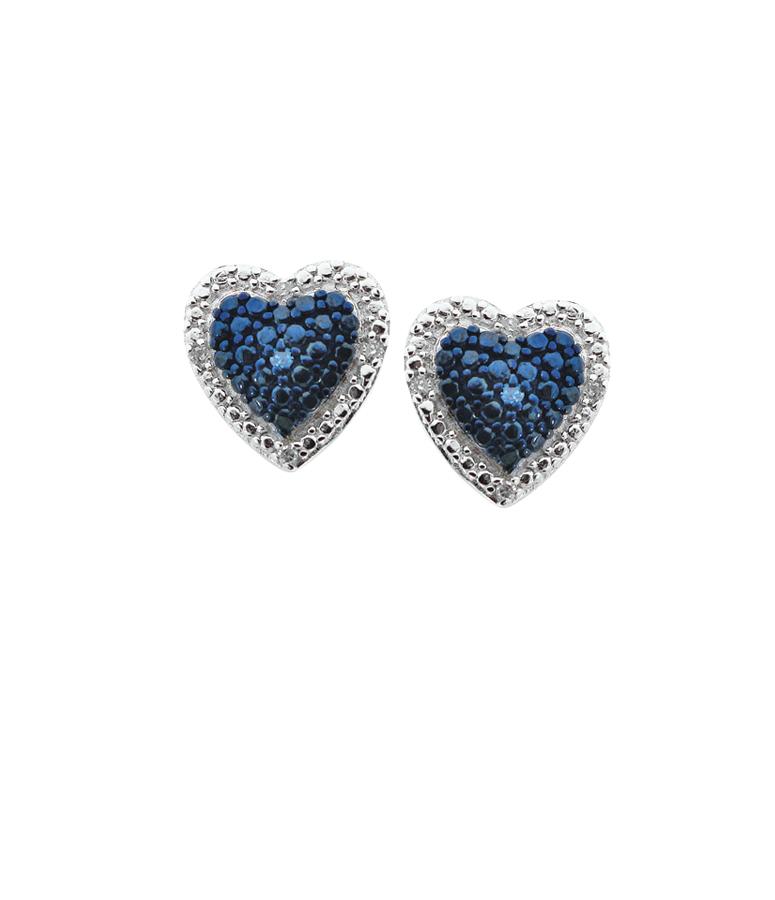 Boucles d'oreilles coeurs à tiges fixes serties de diamants bleus et blancs totalisant 0.05 Carats - en argent sterling