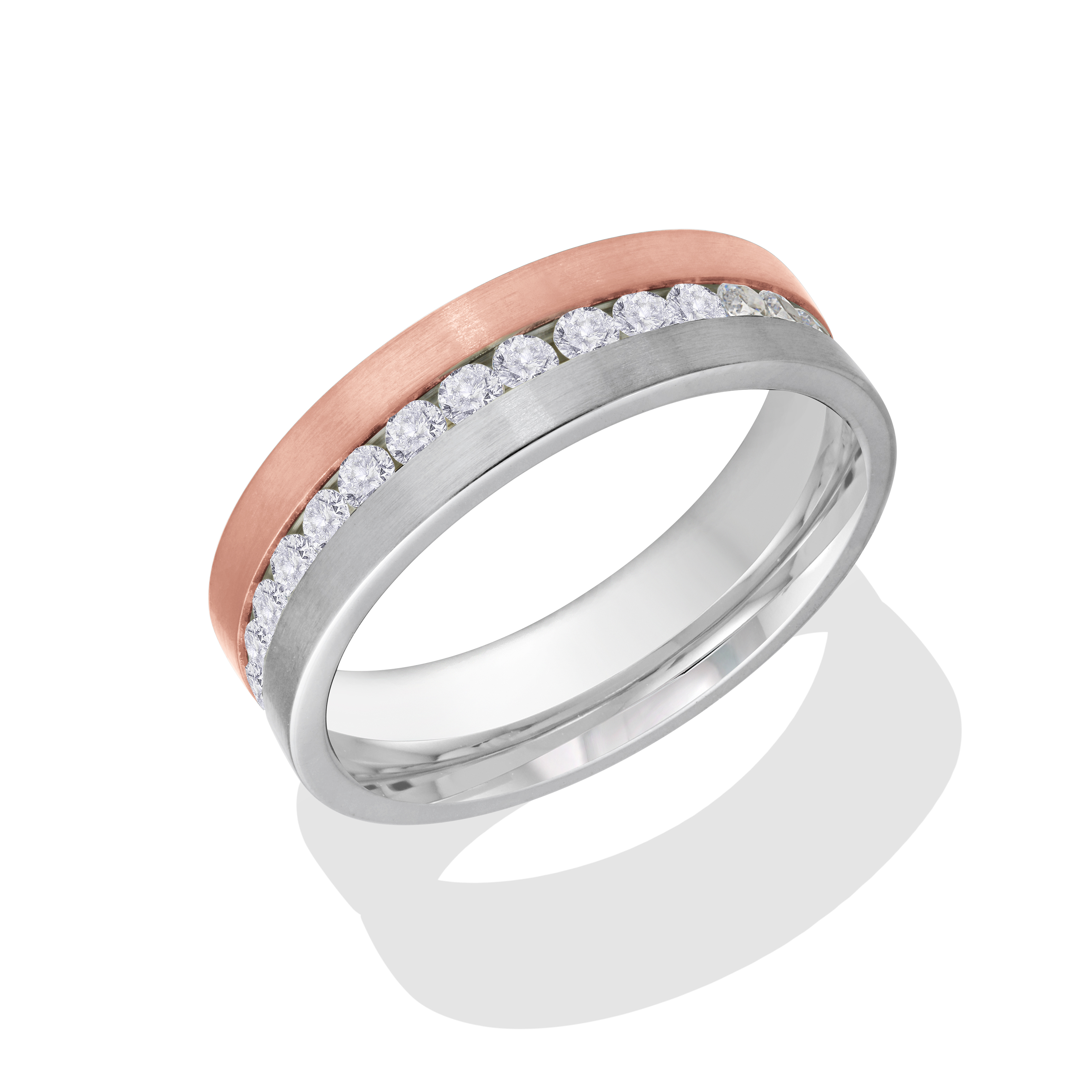 Eternity band for woman - 2-tone stainless steel & Cubic zirconia