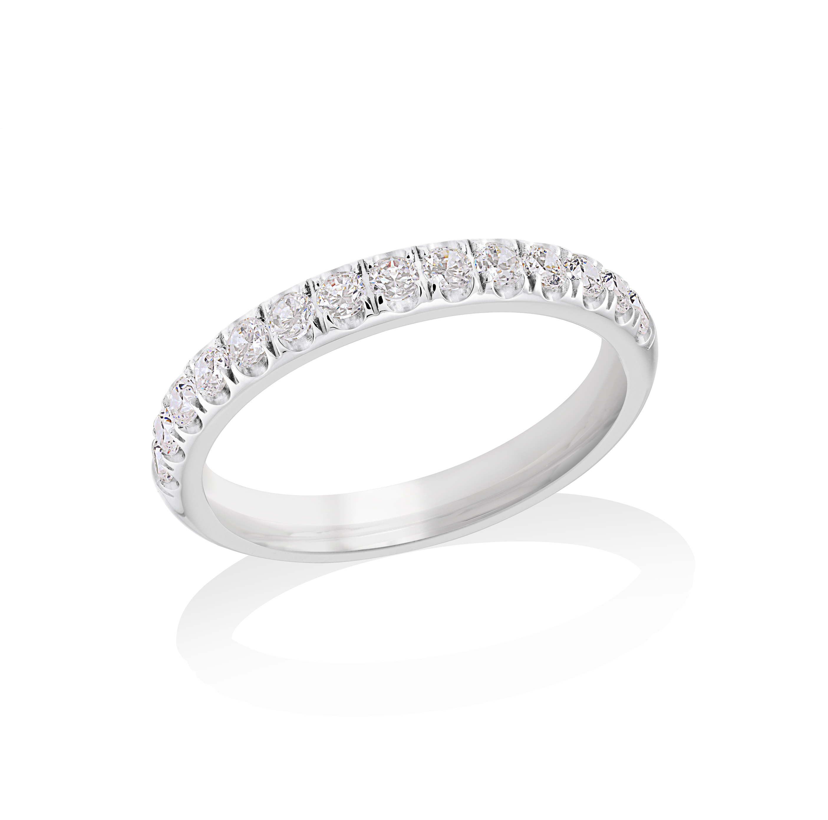 Half-eternity band for woman - Stainless steel & Cubic zirconia