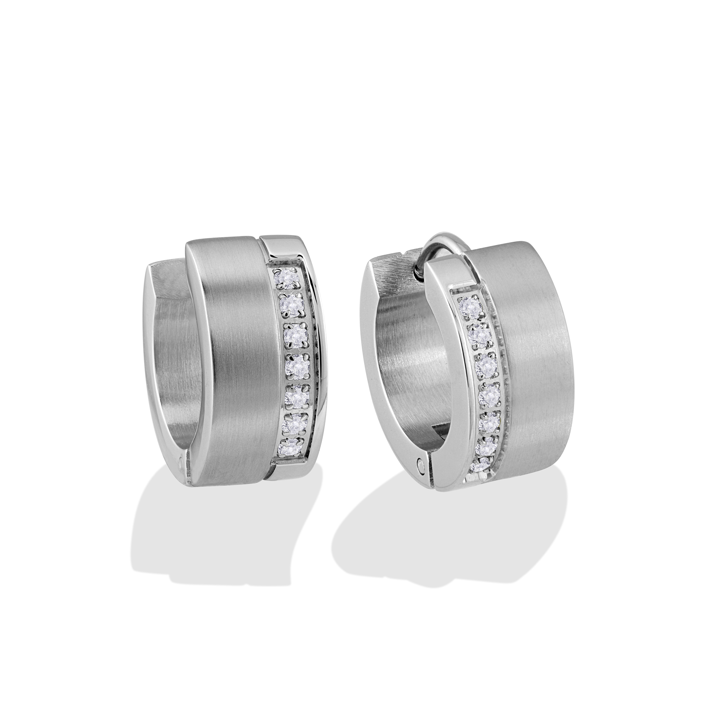 Huggies earrings - Stainless steel & cubic zirconia