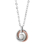 Women's pendant - 2-tone stainless steel (silver and rose) & 8mm fresh water pearl