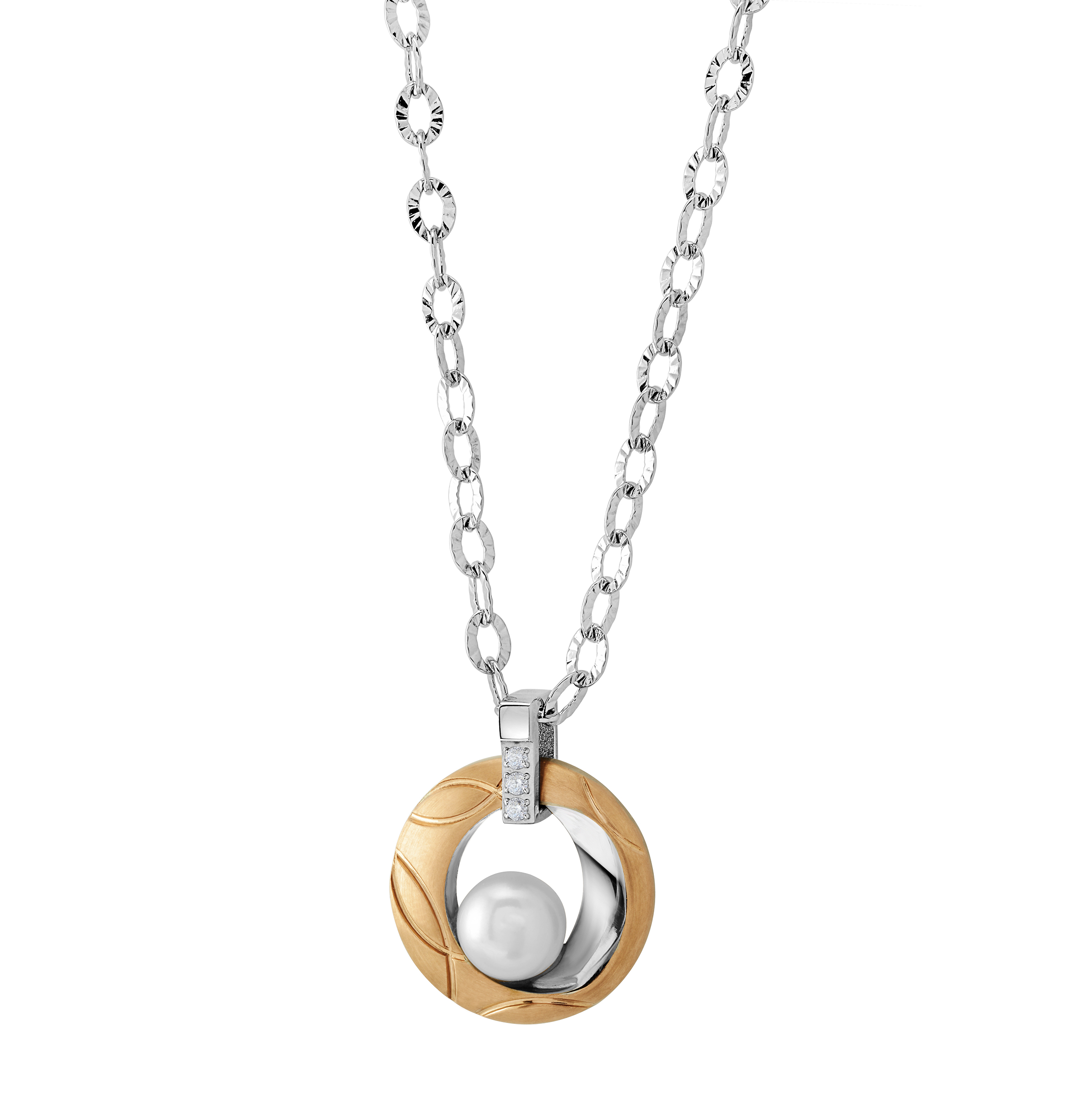 Women's Pendant - 2-tone stainless steel (silver and yellow) & 6mm fresh water pearl + cubic zirconia
