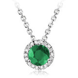 Pendant for woman - 10K white Gold with diamonds & Emerald