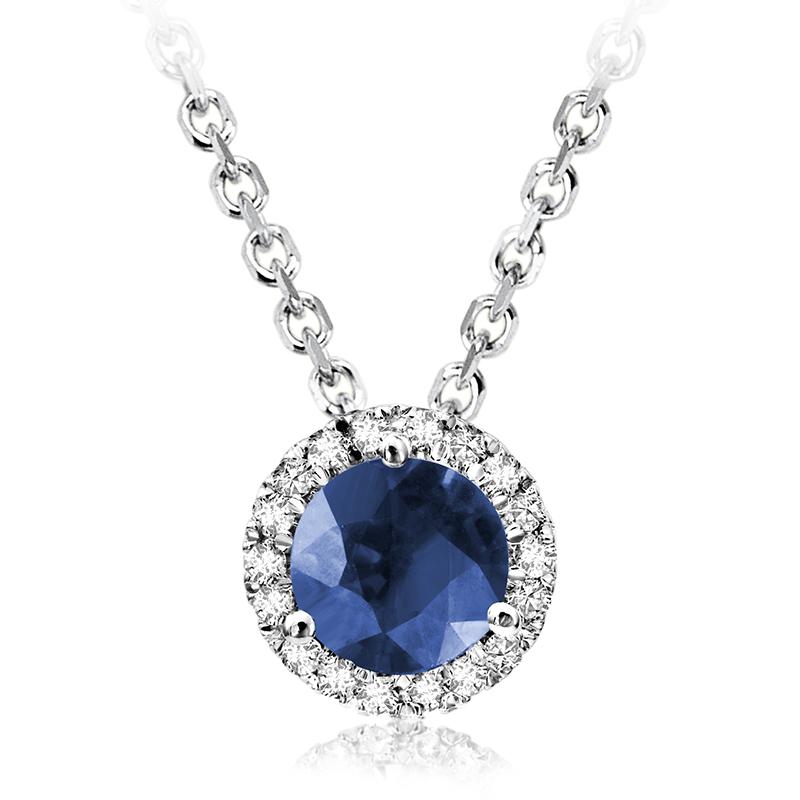 Pendentif pour femme - Or blanc 10K avec Diamants & Saphir