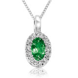 Pendant for woman - 10K white Gold with emerald & diamonds