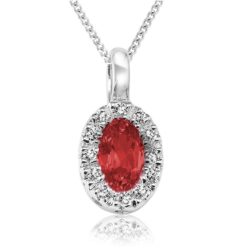 Pendentif pour femme - Or blanc 10K avec rubis & diamants , avec chaîne 18''
