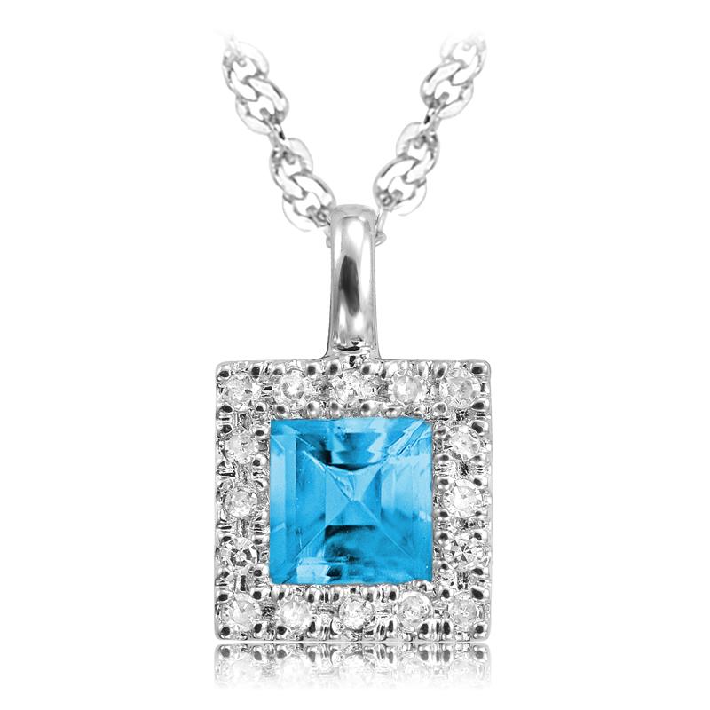 Pendentif serti de diamants totalisant 0.08 Carats et d'un topaze bleu véritable - Or blanc 10K