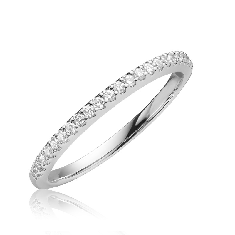 Jonc pour femme - Or blanc 14K & Diamants totalisant 0.15 Carat