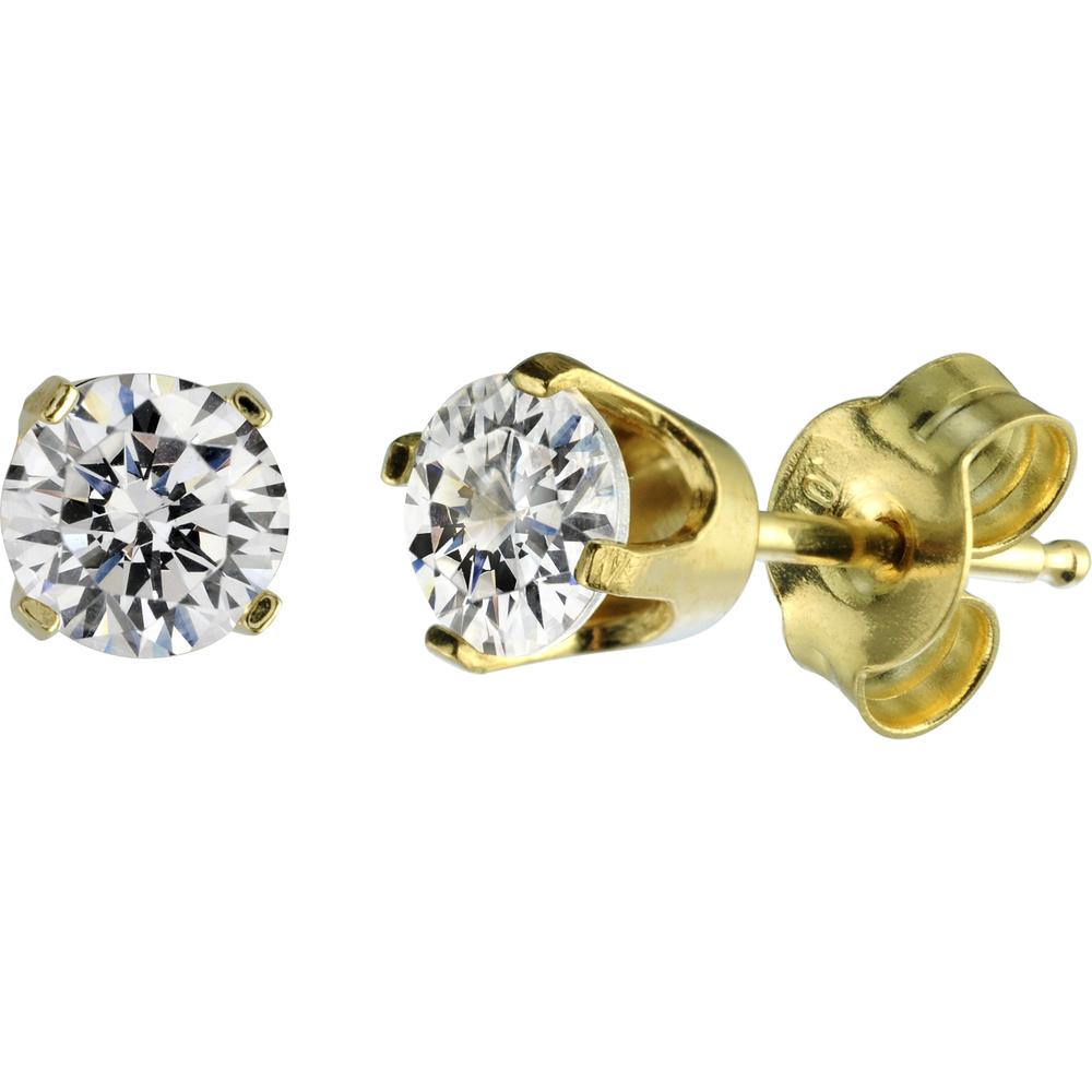 Boucles d'oreilles - Or jaune 14K & Cubiques Zircons de 15pts.
