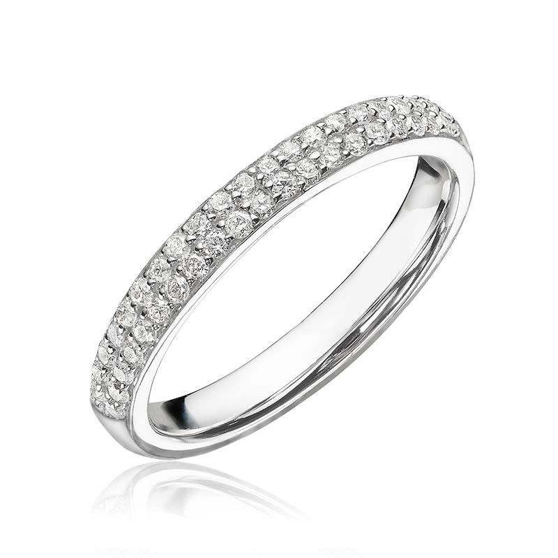Bague semi-éternité pour femme - Or blanc 14K & Diamants