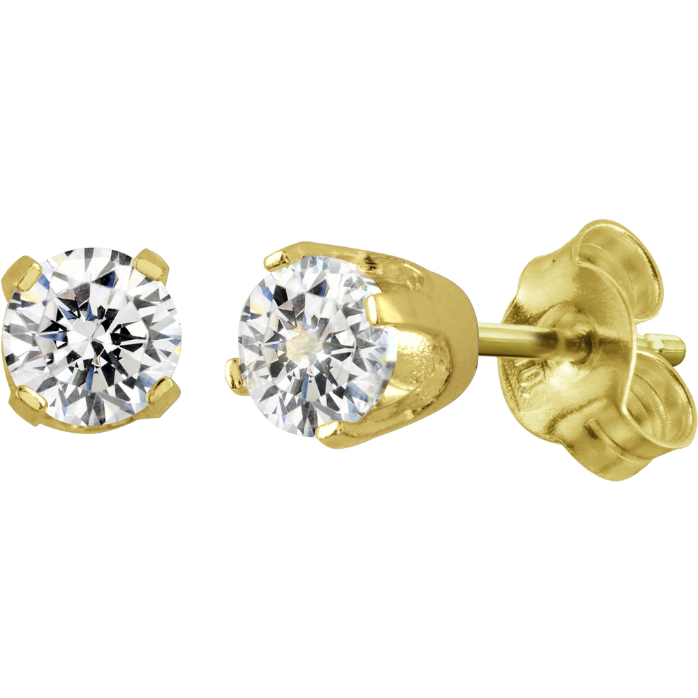 Earrings with cubic zirconnia of 2 X 0.125 Carats - in 14K yellow Gold
