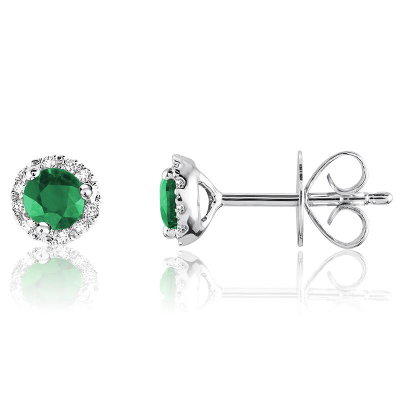 Boucles d'oreilles à tiges fixes - Or blanc 10K&Diamants totalisant 0.10 Caratet Émeraudes véritables