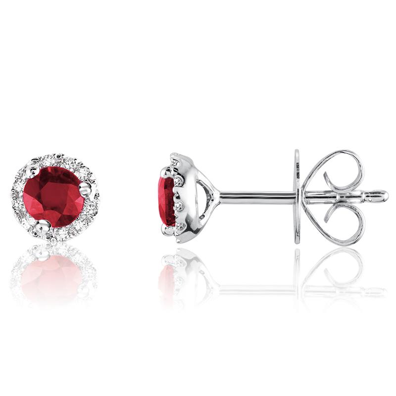Boucles d'oreilles à tiges fixes - Or blanc 10K & Diamants totalisant 0.09 Caratet Rubis véritables