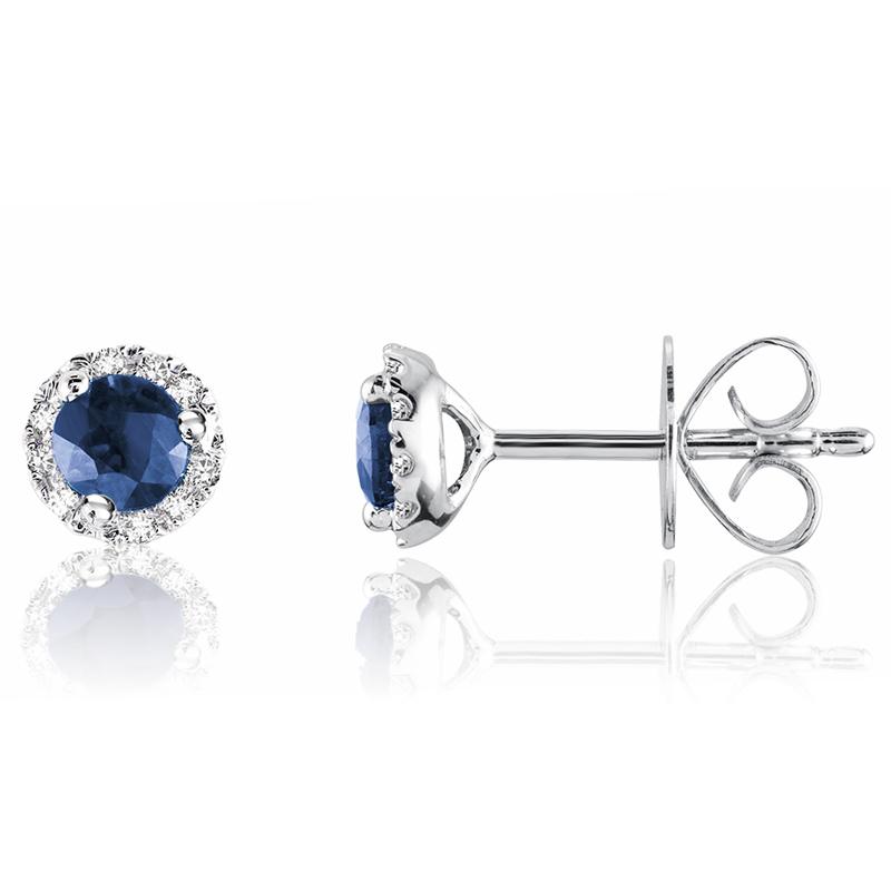 Boucles d'oreilles à tiges fixes pour femme - Or blanc 10K avec diamants et saphirs