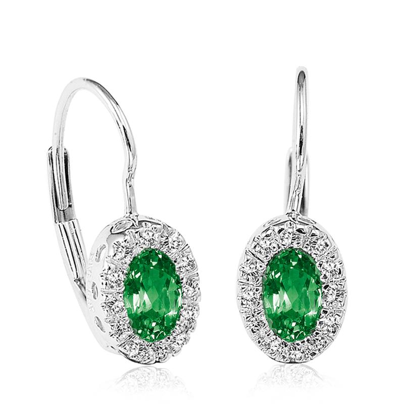 Boucles d'oreilles pendantes pour femmes -Or blanc 10K &Diamants totalisant 0.10 Caratet Émeraudes véritables