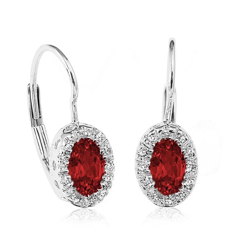 Boucles d'oreilles pendantes pour femmes - Or blanc 10K& Diamants totalisant 0.10 Caratet Rubis véritables