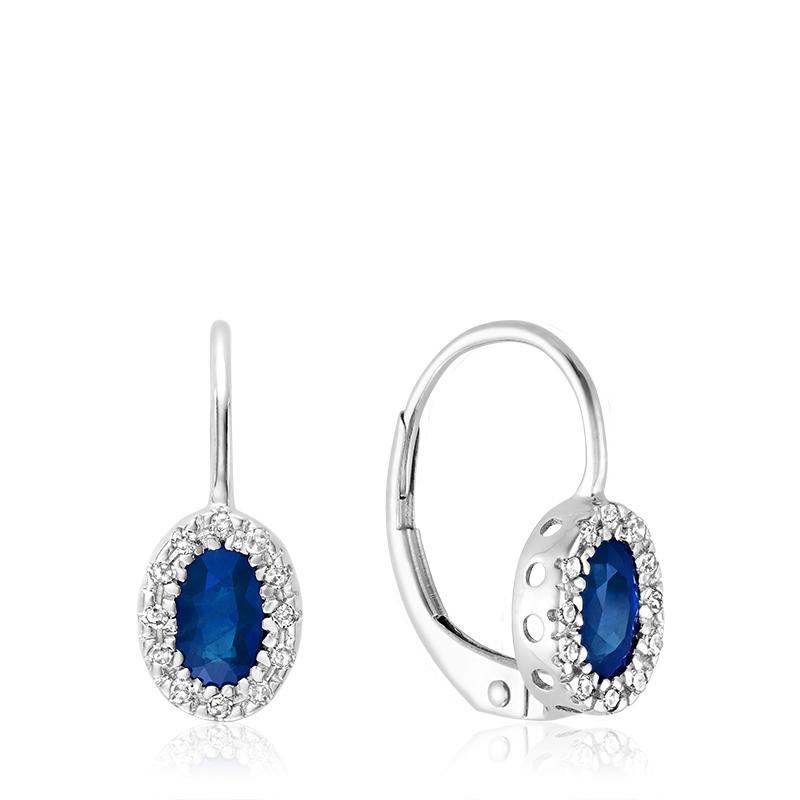 Boucles d'oreilles pendantes pour femmes - Or blanc 10K & Diamants totalisant 0.10 Carat et Saphirs véritables