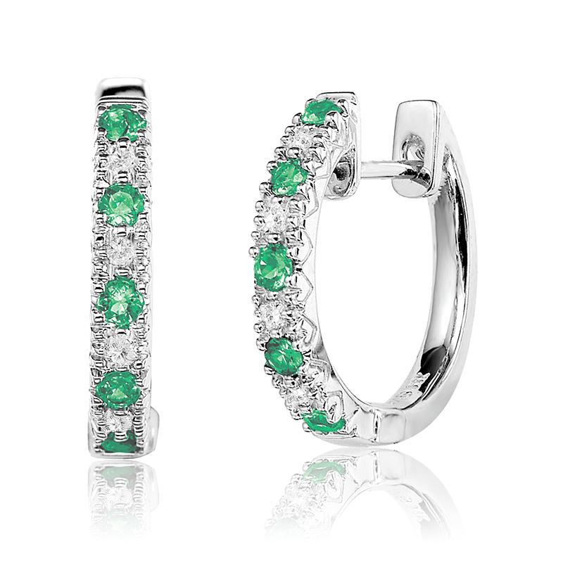 Boucles d'oreilles anneaux - Or blanc 10K & Diamants totalisant 0.05 Carat et Émeraudes véritables