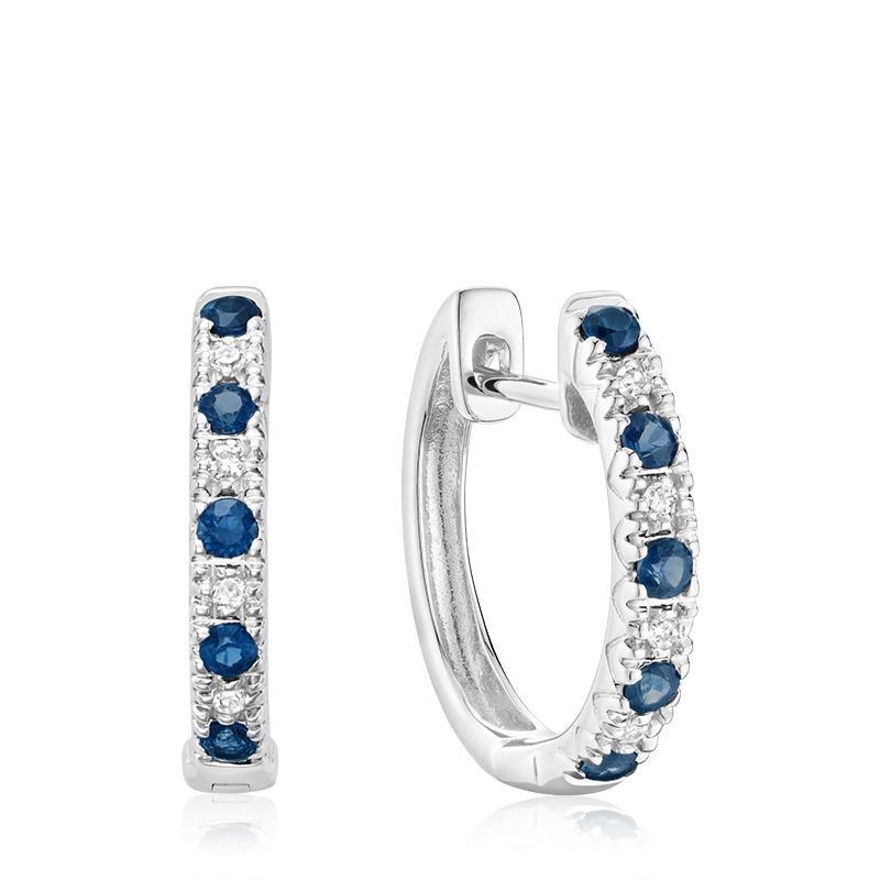 Boucles d'oreilles anneaux - Or blanc 10K & Diamants totalisant 0.05 Carat et Saphirs véritables