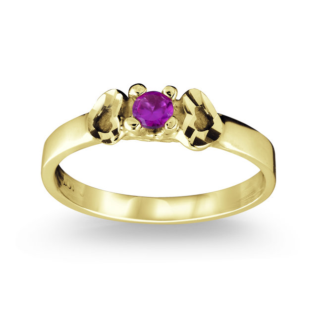 Child's synthetic birthstone ring -10K yellow Gold