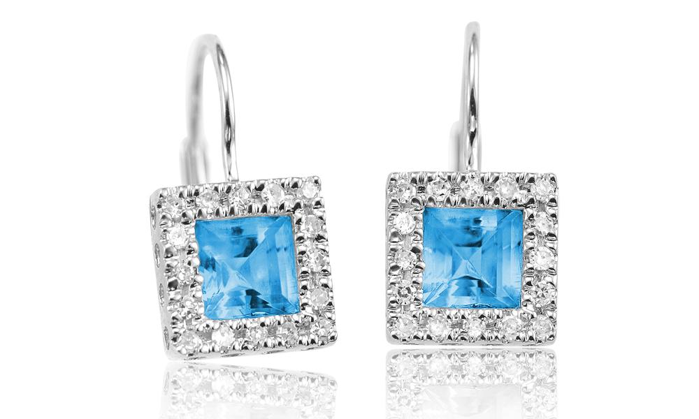 Boucles d'oreilles pendantes - Or blanc 10K & Diamants totalisant 0.17 Carat et Topazes bleu véritables