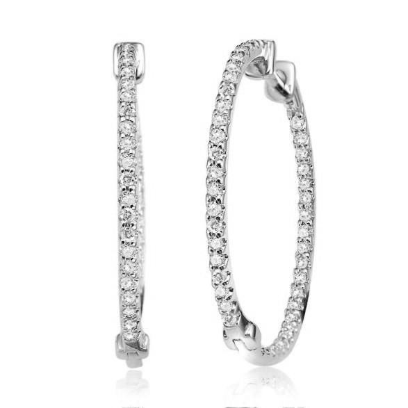 Boucles d'oreilles anneaux pour femme - Or blanc 10K & Diamants totalisant 0.15 Carat