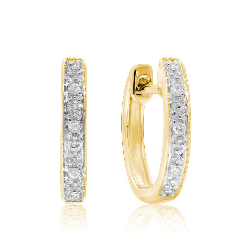 Boucles d'oreilles huggies  - Or jaune 10K & Diamants totalisant 0.03 Carat