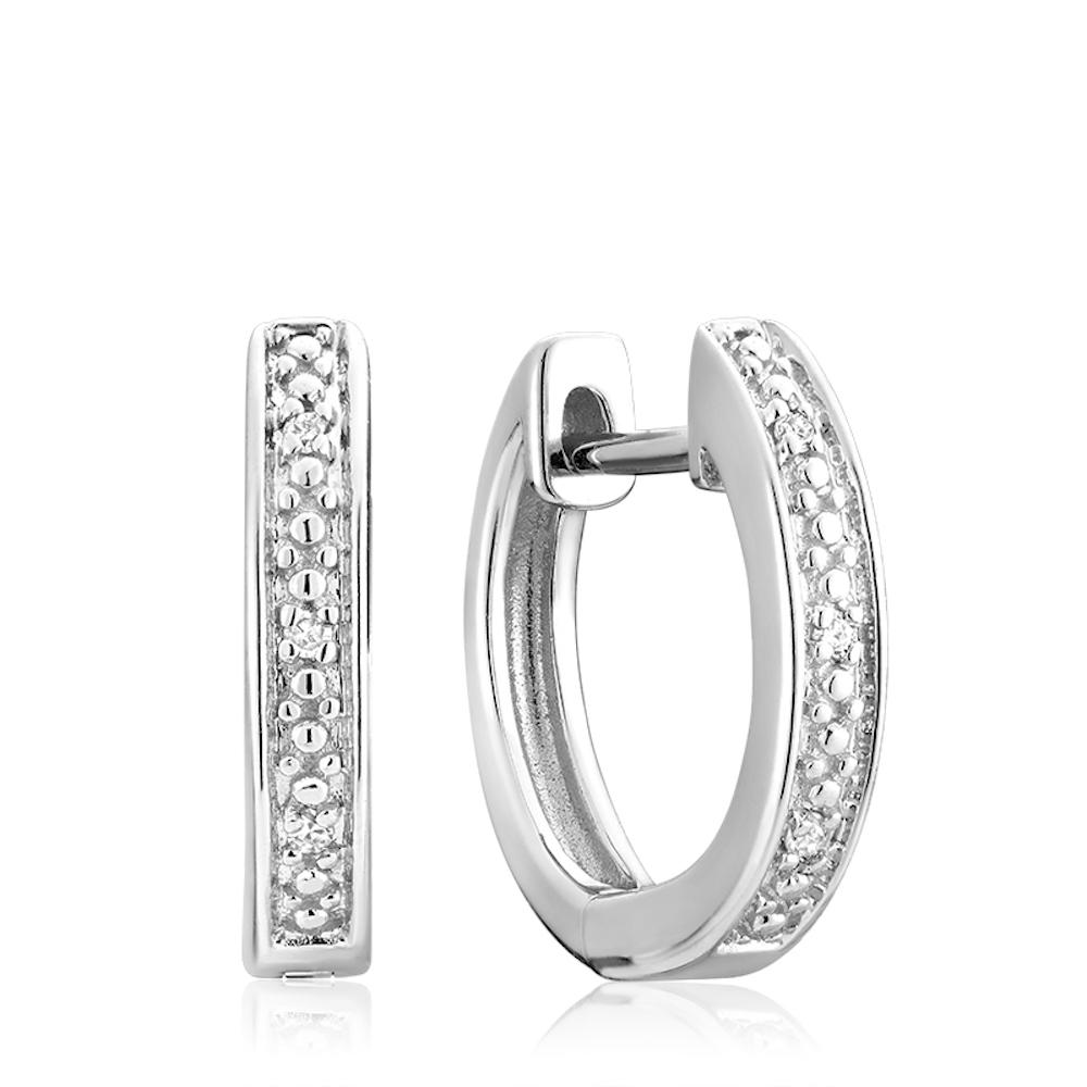 Boucles d'oreilles huggies - Or blanc 10K & Diamants totalisant 0.03 Carat