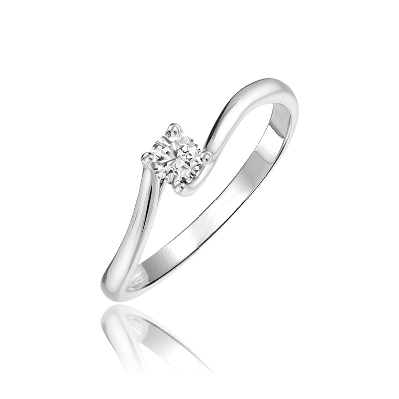 Engagement ring - 10K white Gold & Solitaire diamond T.W. 0.10 Carat