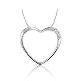 Pendentif coeur pour femme - or blanc 10K & diamants