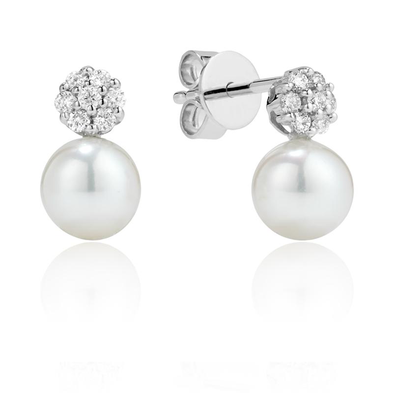 Boucles d'oreilles à tiges fixes serties de perles de culture et de diamants totalisant 0.17 Carats Qualité:I Couleur:GH - en or blanc 14K