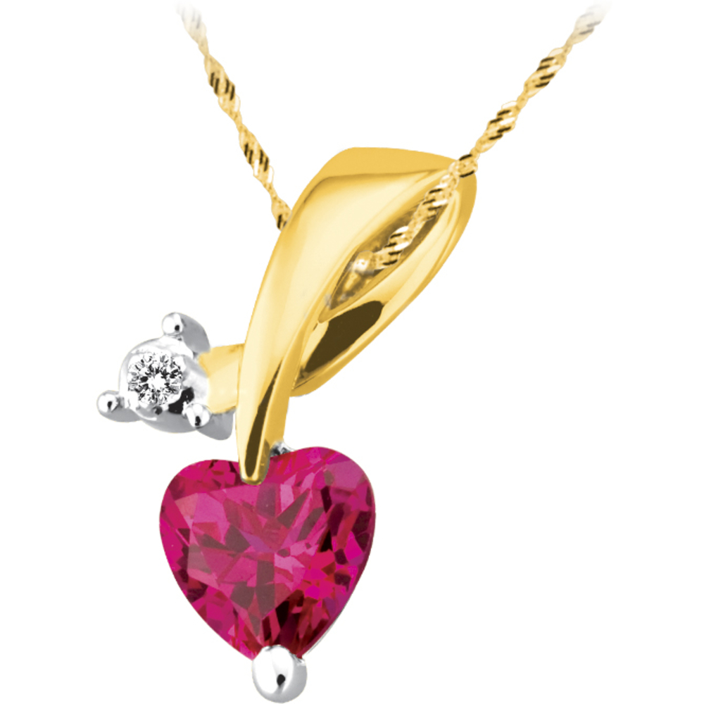 Heart pendant for woman - 10K yellow Gold with diamond & created ruby