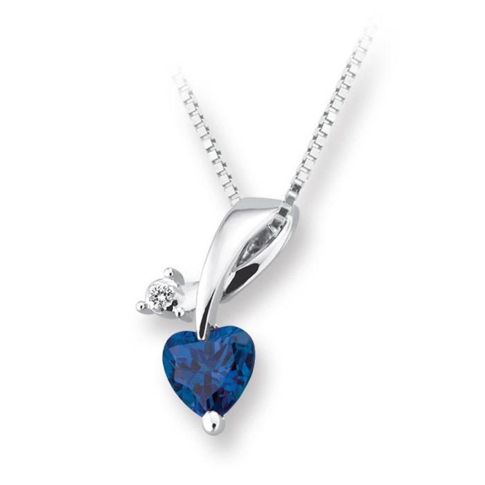 Pendentif coeur pour femme - Or blanc 10K avec diamant & saphir bleu de laboratoire