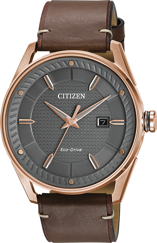 Eco-Drive watch for men - Dark grey dial with mineral - Band in brown leather - Fonctions: Date