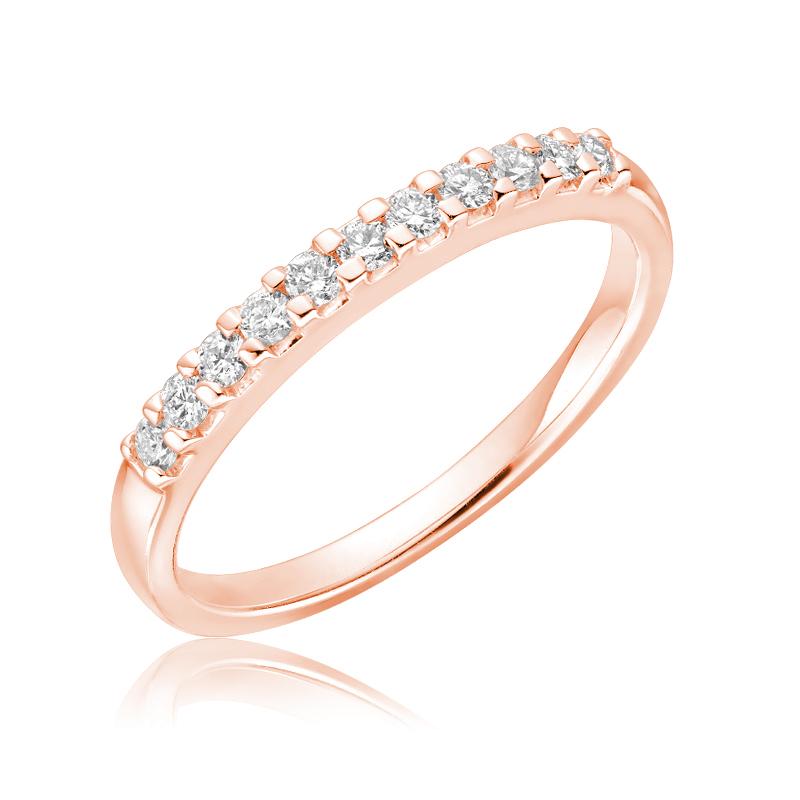 Jonc semi-éternité pour femme - Or rose 10K & Diamants