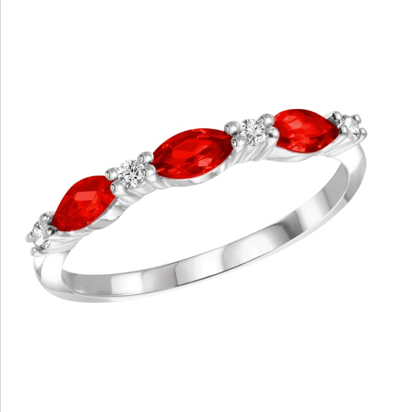 Band set with diamonds 0.07 Carats T.W. Quality:I Color:GH and with rubies - in 10K white gold