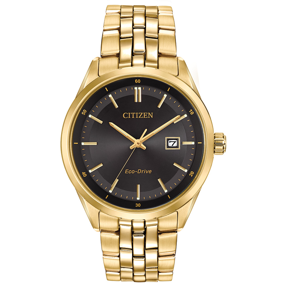 Eco-Drive watch for men - Black dial with sapphire crystal - Fonctions: Date