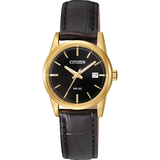 watch with quartz movement for women - Black dial with mineral crystal & Brown leather band