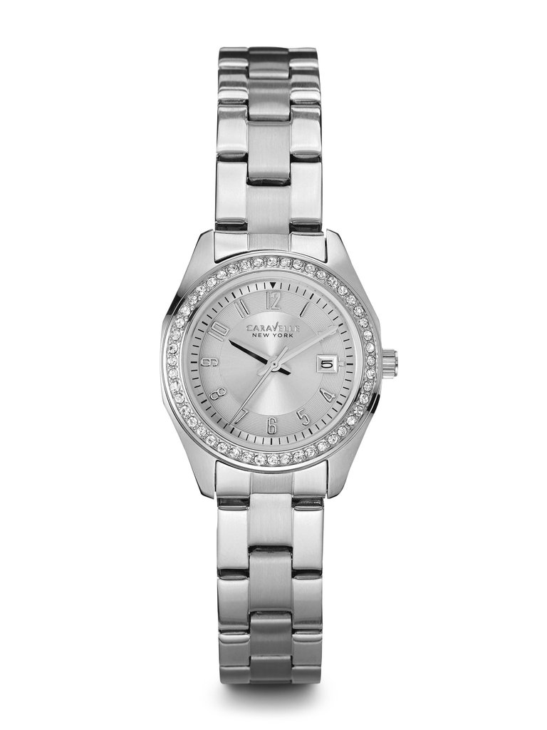 New York watch for women - Patterned silver-white dial