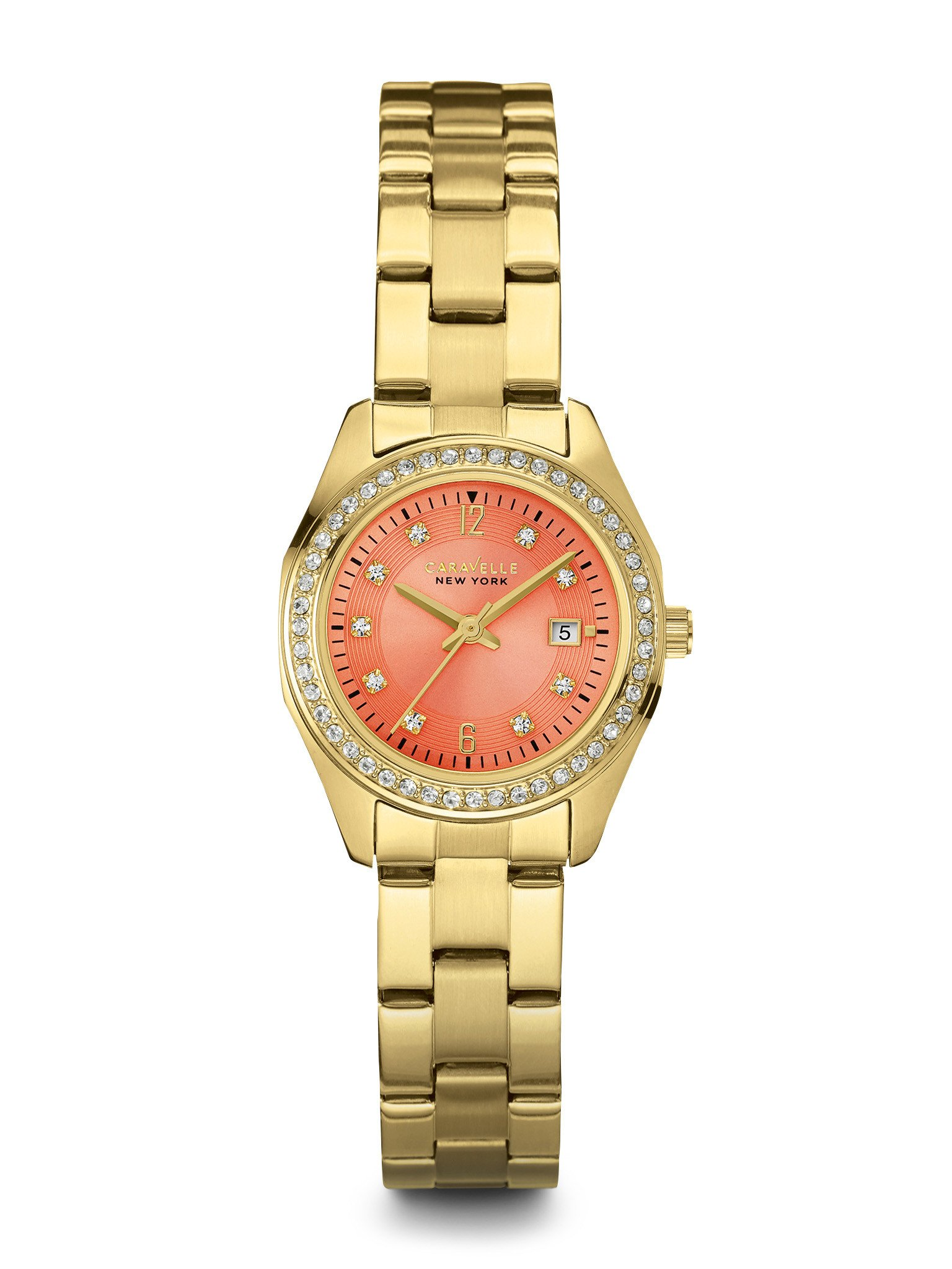 New York watch for women - Melon-colored dial with crystal accents